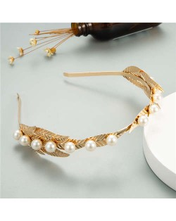 Pearl Decorated Golden Leaves Design Women Alloy Headband