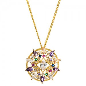 Colorful Rhinestone Decorated Hollow Round Pendant Hip-hop Style Copper Costume Necklace