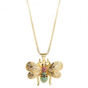 Creative Gold Plated Bee Pendant High Fashion Women Costume Necklace