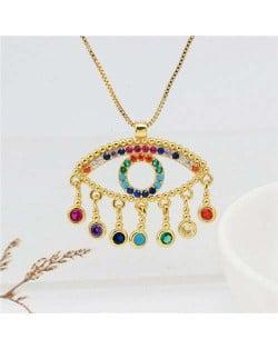 Colorful Rhinestone Embellished Creative Turkish Style Golden Eye Women Fashion Necklace