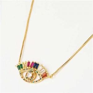 Western Fashion Colorful Rhinestone Eye Pendant Women Copper Necklace