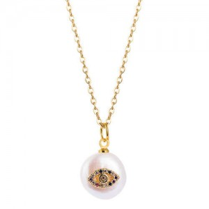 Eye Attached Pearl Pendant Gold Plated Women Costume Necklace