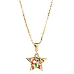 Colorful Rhinestone Embellished Golden Star Pendant Western Fashion Necklace