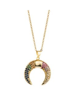Colorful Rhinestone Embellished Moon Pendant Golden Hip-hop Fashion Necklace