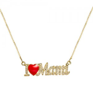 Love Fashion English Alphabets Pendant Golden Costume Necklace