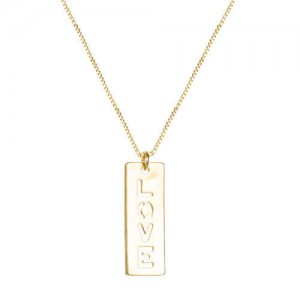 Love Pendant 18K Gold Plated Women Western Fashion Necklace