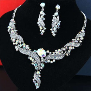 Luxurious Style Bridal Fashion Women Costume Necklace and Earrings Set