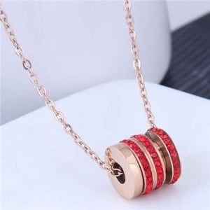 Creative Bead Pendant Korean Fashion Women Stainless Steel Costume Necklace - Red