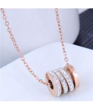 Creative Bead Pendant Korean Fashion Women Stainless Steel Costume Necklace - White
