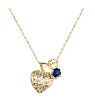 Gift to Mother High Fashion Golden Heart Costume Necklace