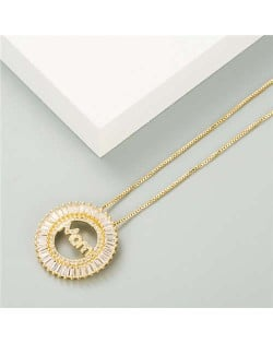 Mothers Day Gift High Fashion Round Pendant Women Golden Costume Necklace - Golden
