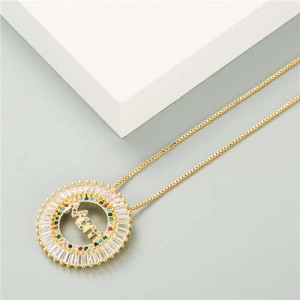 Mothers Day Gift High Fashion Round Pendant Women Golden Costume Necklace - Multicolor