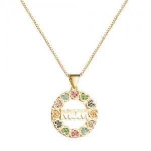 Gift to Mother Colorful Hearts Round Pendant High Fashion Golden Women Necklace