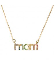 Colorful Alphabets Pendant Mothers Day Gift Series High Fashion Women Golden Necklace