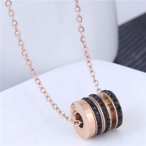 Creative Bead Pendant Korean Fashion Women Stainless Steel Costume Necklace - Black