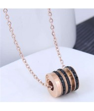Creative Bead Pendant Korean Fashion Women Stainless Steel Costume Necklace - Black