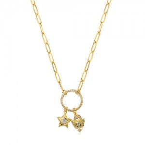 Golden Star and Lock on the Ring Pendant Design High Fashion Hip-hop Costume Necklace