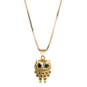 Rhinestone Inlaid Vintage 18K Gold Plated Night Owl Women Fashion Necklace
