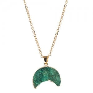 Stones Inlaid Moon Pendant Western Fashion Women Costume Necklace - Green