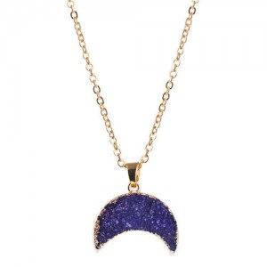 Stones Inlaid Moon Pendant Western Fashion Women Costume Necklace - Purple