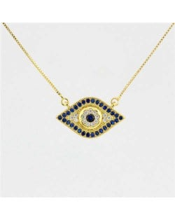 Attractive Blue Eye Pendant Western Fashion Golden Costume Necklace