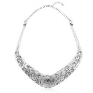 Folk Style Prosperous Engraving Flowers Design Women Bib Necklace - Vintage Silver