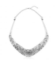 Folk Style Prosperous Engraving Flowers Design Women Bib Necklace - Vintage Silver