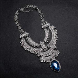 Vintage Engraving Flowers Multi-layer Western Fashion Women Bib Necklace - Silver
