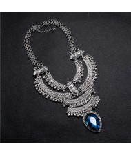 Vintage Engraving Flowers Multi-layer Western Fashion Women Bib Necklace - Silver