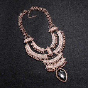 Vintage Engraving Flowers Multi-layer Western Fashion Women Bib Necklace - Rose Gold