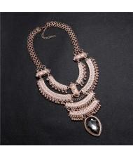 Vintage Engraving Flowers Multi-layer Western Fashion Women Bib Necklace - Rose Gold