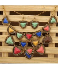 Multicolors Resin Gem Vintage Fashion Women Bib Statement Necklace
