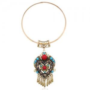 Bohemian Fashion Folk Style Heart Pendant Women Bib Statement Necklace - Golden