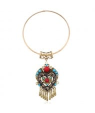 Bohemian Fashion Folk Style Heart Pendant Women Bib Statement Necklace - Golden