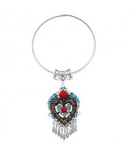 Bohemian Fashion Folk Style Heart Pendant Women Bib Statement Necklace - Silver