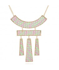 Fluorescent Effect Geometric Combo Design Women Bib Statement Necklace