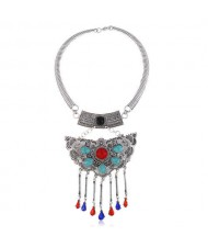 Turquoise Embellished Bold Butterfly Pendant Western Fashion Women Bib Necklace - Red