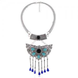 Turquoise Embellished Bold Butterfly Pendant Western Fashion Women Bib Necklace - Black