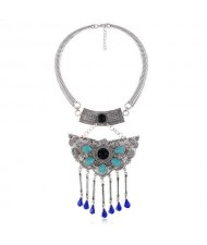 Turquoise Embellished Bold Butterfly Pendant Western Fashion Women Bib Necklace - Black