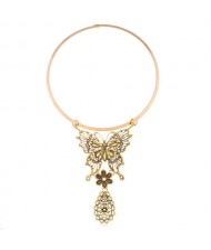Butterfly and Waterdrop Combo Western Fashion Women Bib Statement Necklace - Vintage Golden
