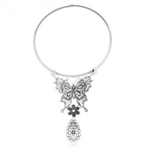 Butterfly and Waterdrop Combo Western Fashion Women Bib Statement Necklace - Vintage Silver