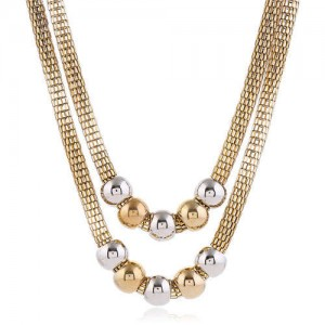 Mixed Colors Beads Dual Layers Design Western Fashion Women Costume Necklace - Golden