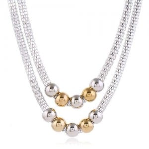 Mixed Colors Beads Dual Layers Design Western Fashion Women Costume Necklace - Silver