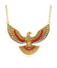 Eagle Pendant U.S. High Fashion Short Alloy Costume Necklace - Golden