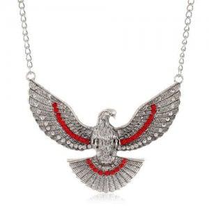 Eagle Pendant U.S. High Fashion Short Alloy Costume Necklace - Silver