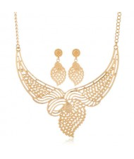 Hollow Design Leaves Inspired Aesthetic Design Golden Bib Statement Necklace and Earrings Set