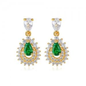 Emerald Inlaid Gold Plated Vintage Waterdrop Design 925 Sterling Silver Women Stud Earrings