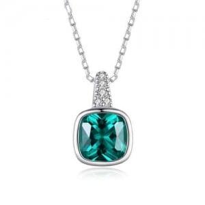 Emerald Square Gem Pendant 925 Sterling Silver Women Necklace