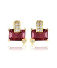 Oblong Ruby Gem Inlaid Gold Plated Vintage  Design 925 Sterling Silver Women Earrings