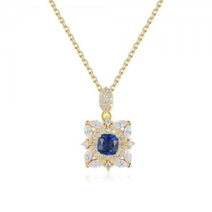 Blue Gem Inlaid Square Pendant 18K Gold Plated Royal Fashion 925 Sterling Silver Necklace